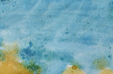 Abstract background, hand-painted texture, watercolor painting, splashes, drops of paint, paint smears. Design for backgrounds, wallpapers, covers and packaging
