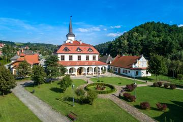 Obraz The Galician Town in Nowy Sącz aerial view - fototapety do salonu