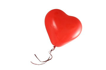 red balloon in heart shape isolated on a white background, love symbol, copy space