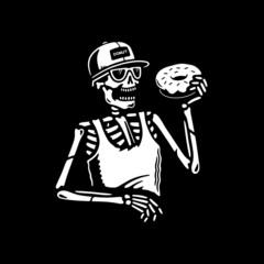 SKELETON EATING DONUT BLACK BACKGROUND