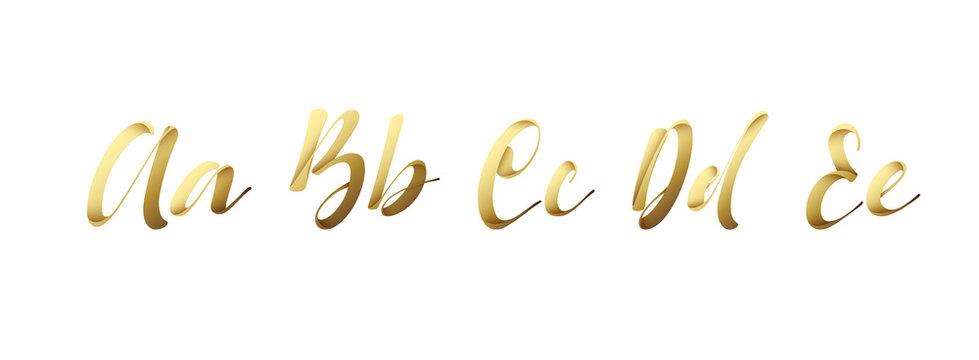 Font ribbon style, alphabet golden. Letters a, b, c, d, e, typography vector illustration