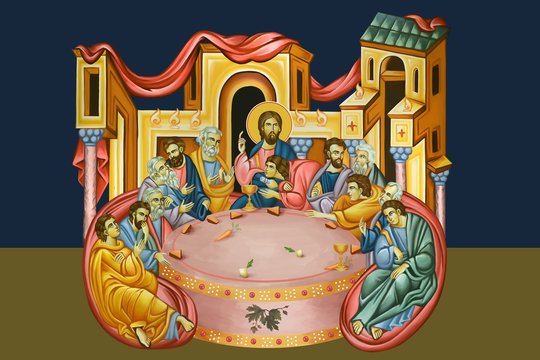 Holy Communion. The Last Supper illustration - fresco in Byzantine style