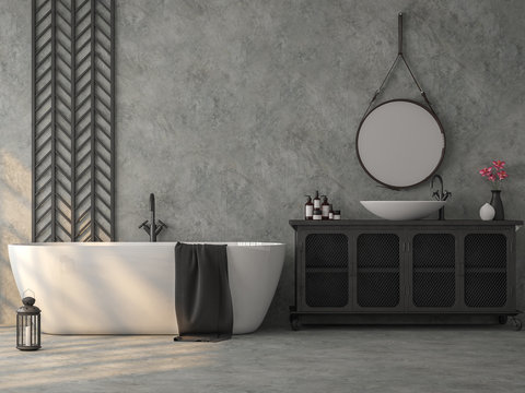 Industrial loft style bathroom with polished concrete 3d render,Furnished with white bathtub and old metal sink cabinet,decorate wall with black steel lattice.