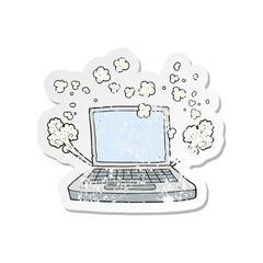 retro distressed sticker of a cartoon laptop computer fault