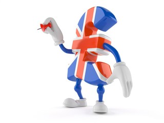 Pound currency character holding thumbtack