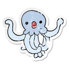 distressed sticker of a cartoon jellyfish