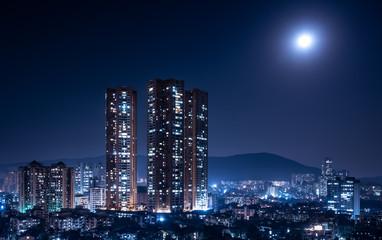 Mumbai bathed in moonlight Wall mural