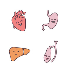 Smiling human internal organs color icons set