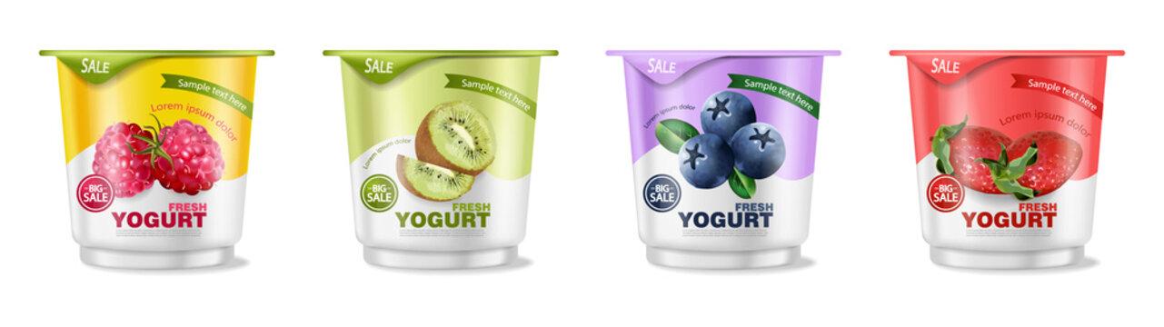 Fruits yogurt set Vector realistic. Berry, raspberry and kiwi collections