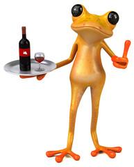 Fun yellow frog - 3D Illustration