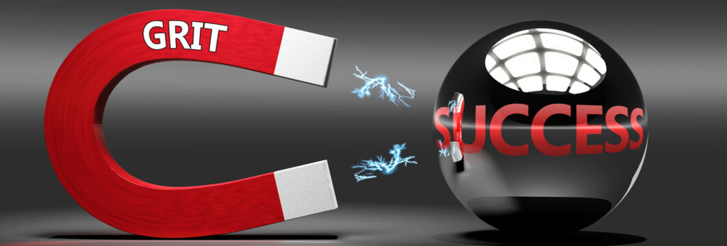 Grit leads to success, attracts achievements and progress -  this abstract idea and relation pictured as two objects, magnet attracting a ball, labelled with English words, 3d illustration