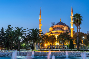 Night view of Blue Mosque in Istanbul city, Turkey