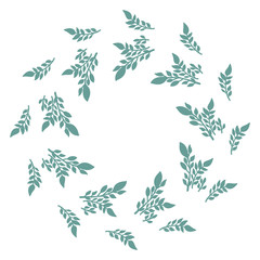 Hand drawn vector round frame. Floral wreath with leaves, branches Decorative elements for design. Ink, vintage and rustic styles.