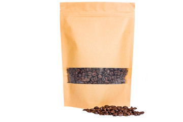 brown paper doypack stand up pouch with window  zipper  filled with coffee beans on white background