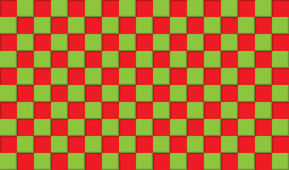 Abstract background of red and green squares, 3D simulation