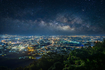 City night landscape from the view point on top of mountain , Chiangmai ,Thailand Fototapete