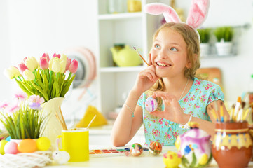 Portrait of girl is preparing for Easter