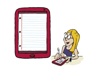 Young woman writing using a connected tablet and wireless pencil