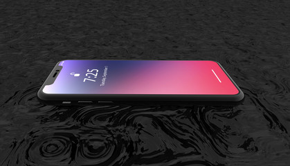 Smart phone on black water background. Dark template of cellphone for banner, for background or wallpaper Advertising . 3d rendering