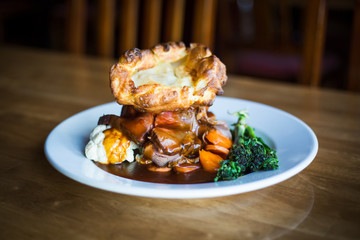 Roast beef stack with Yorkshire pudding on top