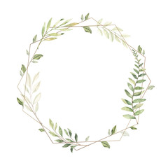 Hand drawn watercolor illustration. Geometric gold frame with botanical branches and leaves. Greenery. Floral Design elements. Perfect for wedding invitations, cards, prints, posters, packing