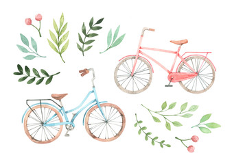 Hand drawn watercolor illustration - Romantic bike with floral elements. City bicycle. Amsterdam. Perfect for invitations, greeting cards, posters, prints Fototapete