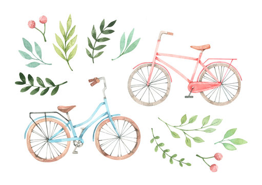 Hand drawn watercolor illustration - Romantic bike with floral elements. City bicycle. Amsterdam. Perfect for invitations, greeting cards, posters, prints