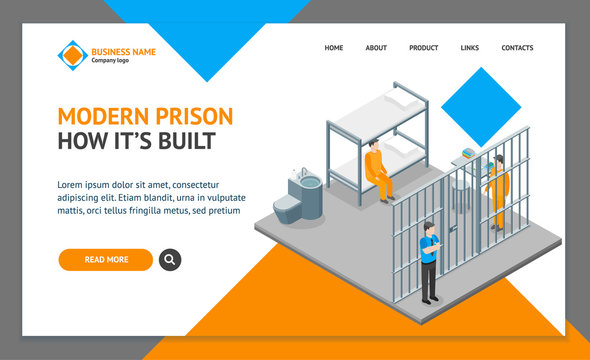 Modern Prison Interior with Furniture and People Landing Web Page Template Isometric View. Vector