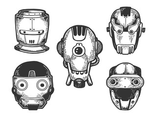 Cyborg robot metal heads set sketch engraving vector illustration. Scratch board style imitation. Black and white hand drawn image.