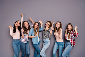 Close up photo beautiful she her six ladies skinny roommates birthday gift present unexpected visit wearing casual jeans denim checkered striped clothes outfit isolated grey background
