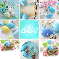colorful easter eggs and spring flowers. collage