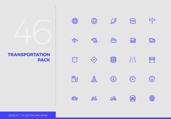 Vector Line Icons Transportation Pack