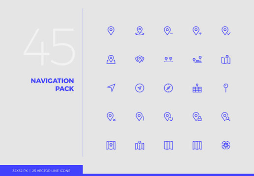 Vector Line Icons Navigation Pack