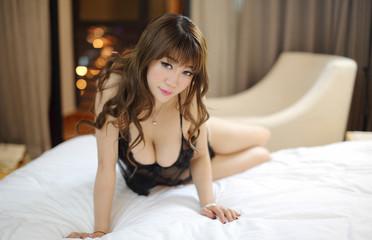 slim asian girl model in fashion wear japanese style