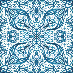 Exotic vintage pattern. Vintage Seamless pattern with hand drawn Abstract Flowers.