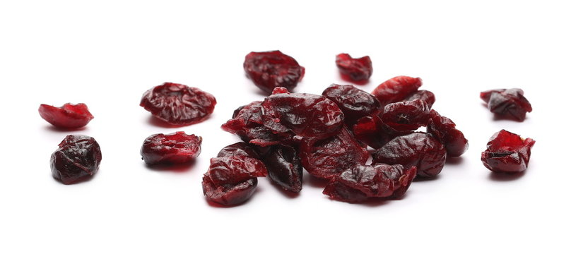 Dried cranberries isolated on white background, top view
