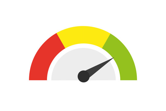 Speedometer icon or sign with arrow. Vector illustration.