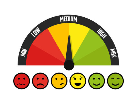 Customer meter with emotions. Vector illustration.