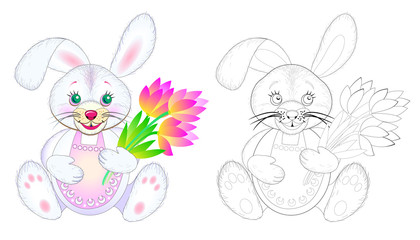 Fantasy illustration of cute toy rabbit holding bouquet of flowers. Colorful and black and white page for coloring book. Printable worksheet for children and adults. Easter greetings. Vector image.
