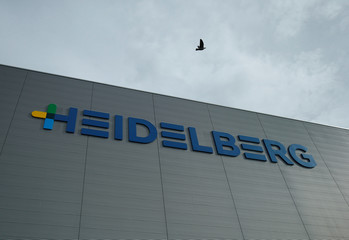 A logo of Heidelberger Druckmaschinin AG is pictured at a store house in Wiesloch near Heidelberg
