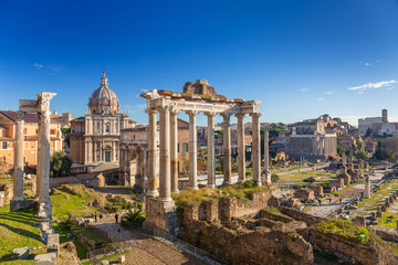 The Roman Forum view, city square in ancient Rome, Italy