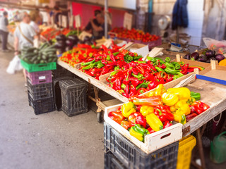 vegetable market italy sicily with paprika