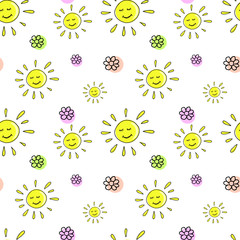 Spring sunny pattern, sun an flowers doodle background. Bright sunny doodle on a transparent background background. Seamless vector pattern without background