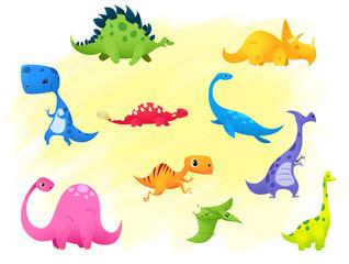 Set Jurassic reptile vector illustration cartoon dinosaur.
