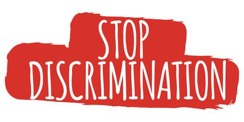 Stop Discrimination Banner. Gender equality Label and Logo. Logo Vector Illustration