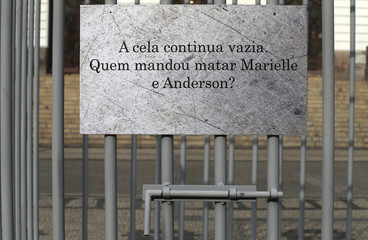 An empty jail cell is seen set by the NGO Rio de Paz (Peace Rio), to mark the first anniversary of the murder of activist and councilwoman Marielle Franco in Rio de Janeiro