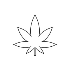 Cannabis, marijuana leaf line icon. Vector illustration, flat design.