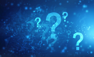 2d illustration question mark, Technology abstract background, Concept of thinking