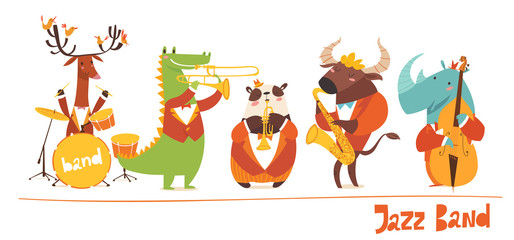 Funny animals musicians vector characters. Jazz music