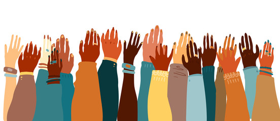 Illustration of a people's hands with different skin color together facing  up. Race equality, feminism, tolerance art in minimal style. - Buy this  stock vector and explore similar vectors at Adobe Stock |